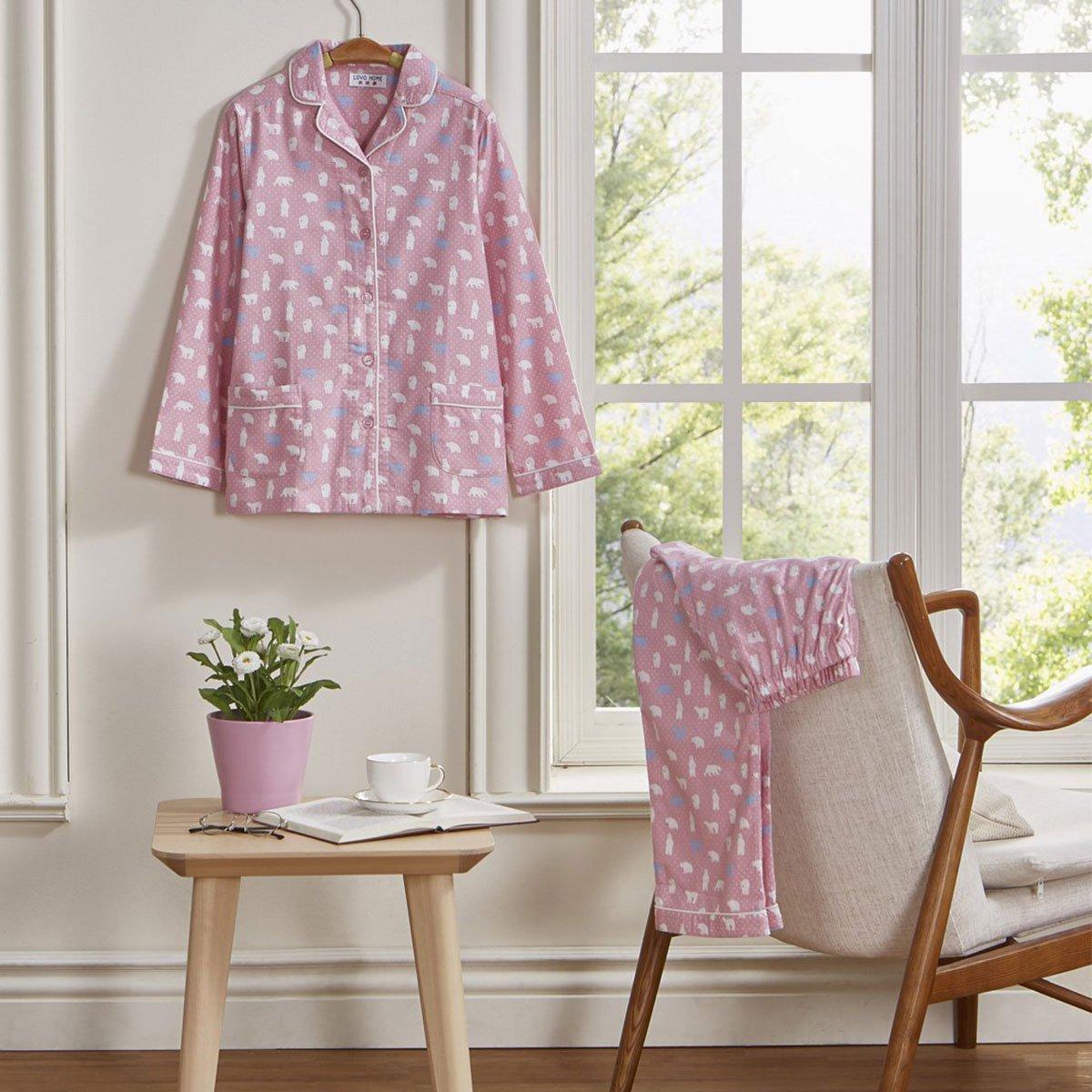 home 绒布小熊满印长袖女式睡衣家居服套装