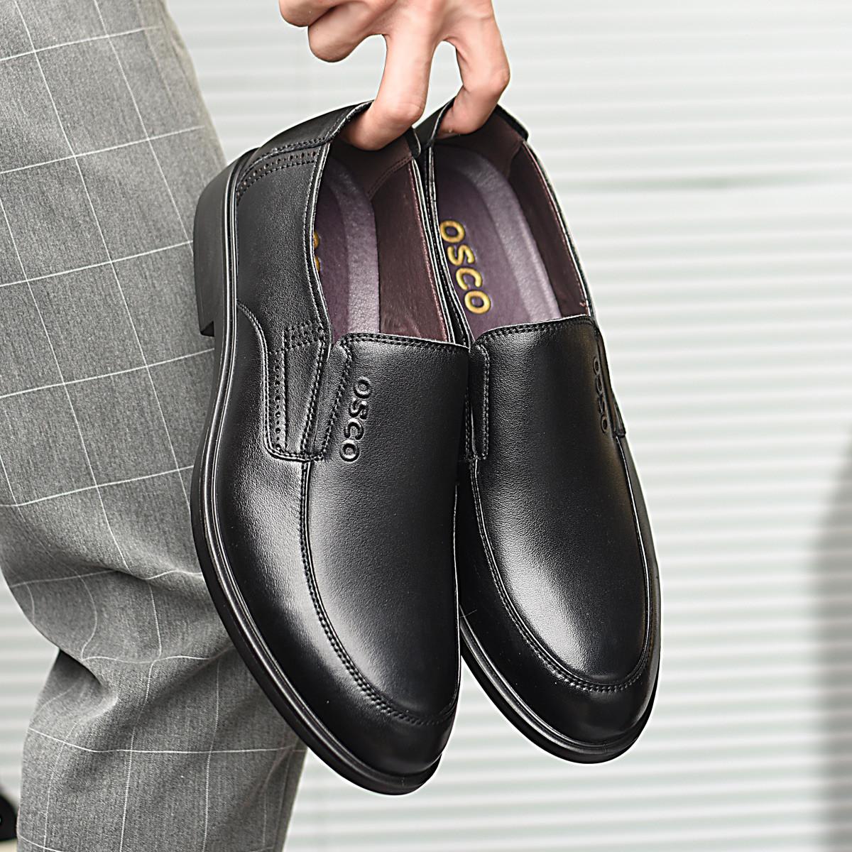 OSCO商务正装牛皮圆头套脚真皮一脚蹬男鞋男皮鞋男皮鞋男鞋男休闲鞋S4811BL