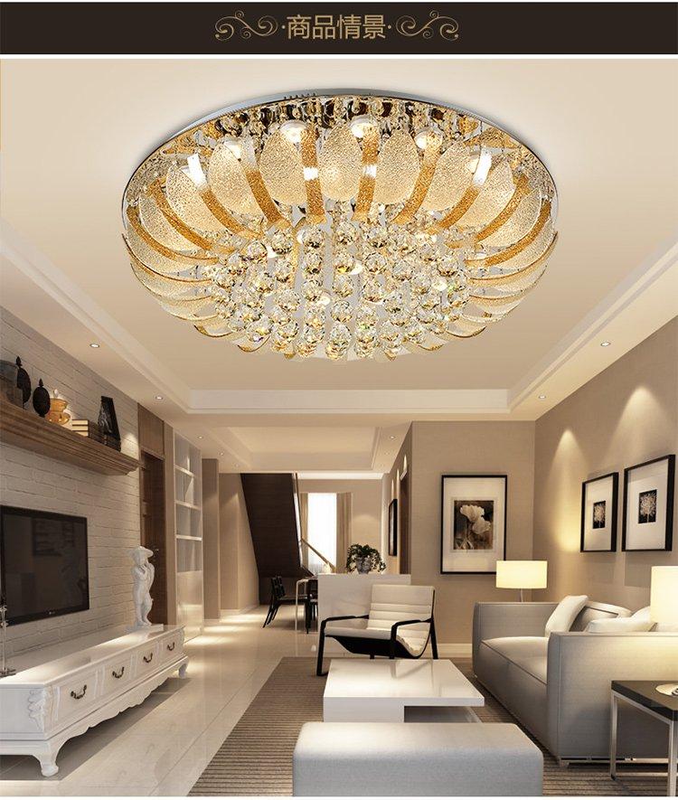 欧普调光客厅卧室led欧式吸顶灯圆形温馨现代简约大气水晶灯图片