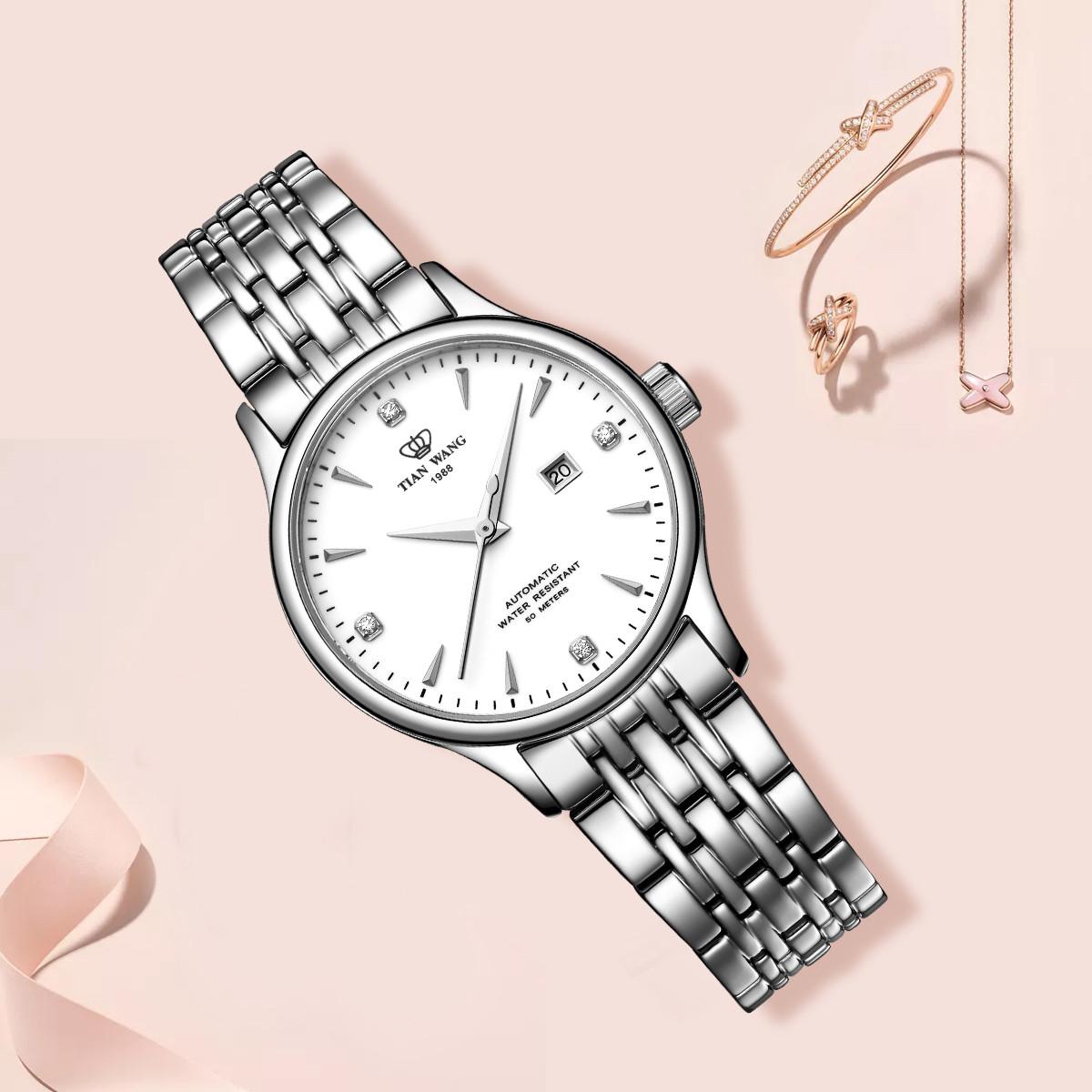 天王【热卖】天王商务优雅女士手表简约时尚钢带机械女表LS65876S/D-A白