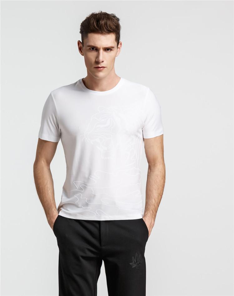 短袖t恤虎头图案以正反提花手法设计潮流圆领男士短袖t恤