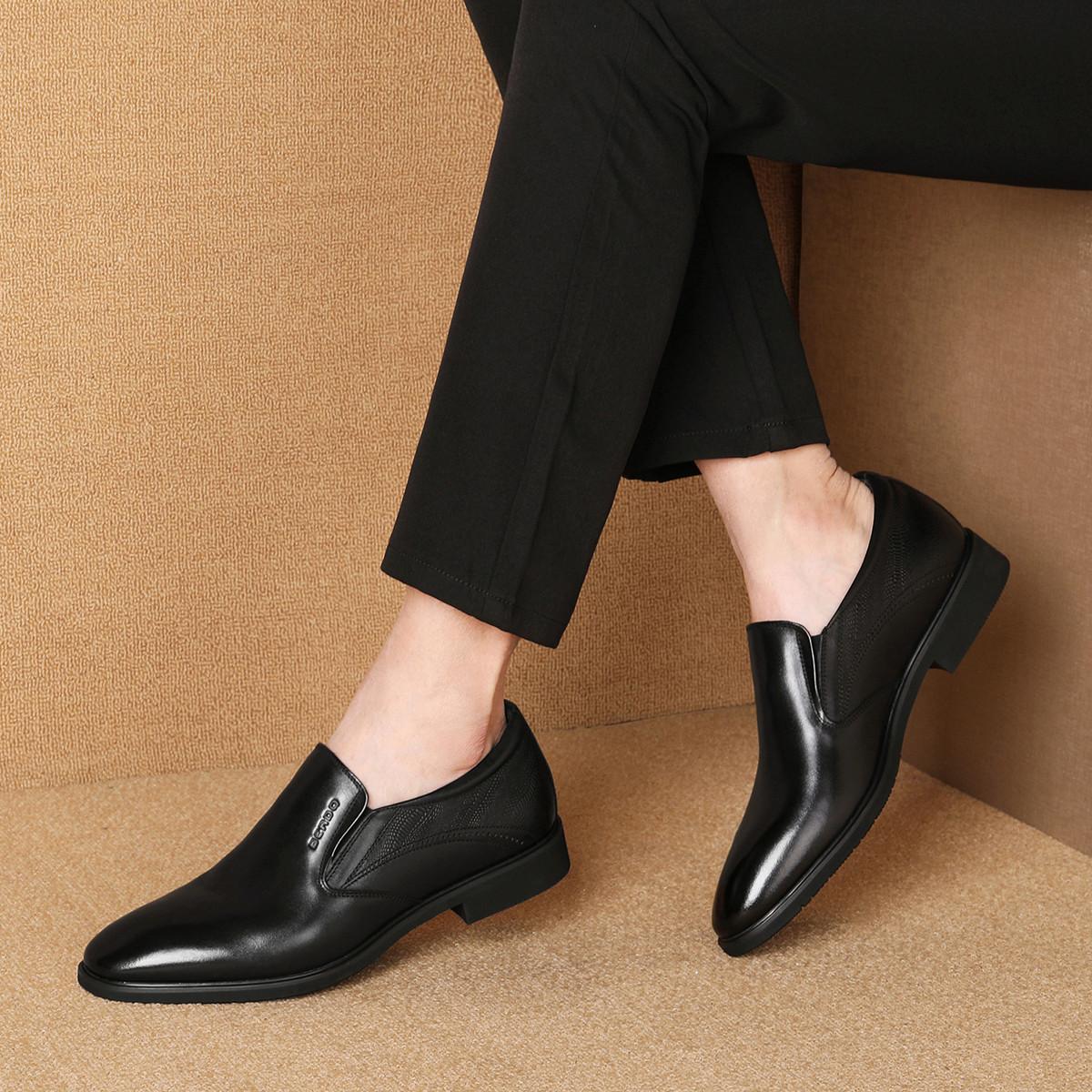 波尔谛奇秋季新款真皮男鞋牛皮纯色简约英伦套脚男士商务鞋德比鞋K9S99105-H1