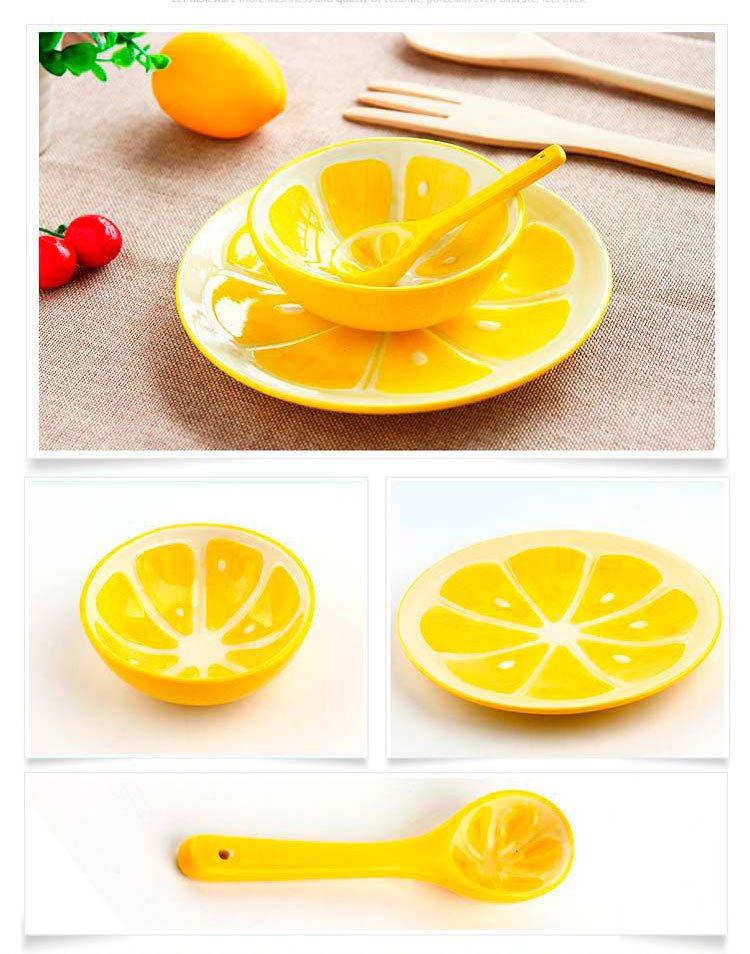 手绘陶瓷餐具可爱水果碗盘子勺子餐具套装3件套