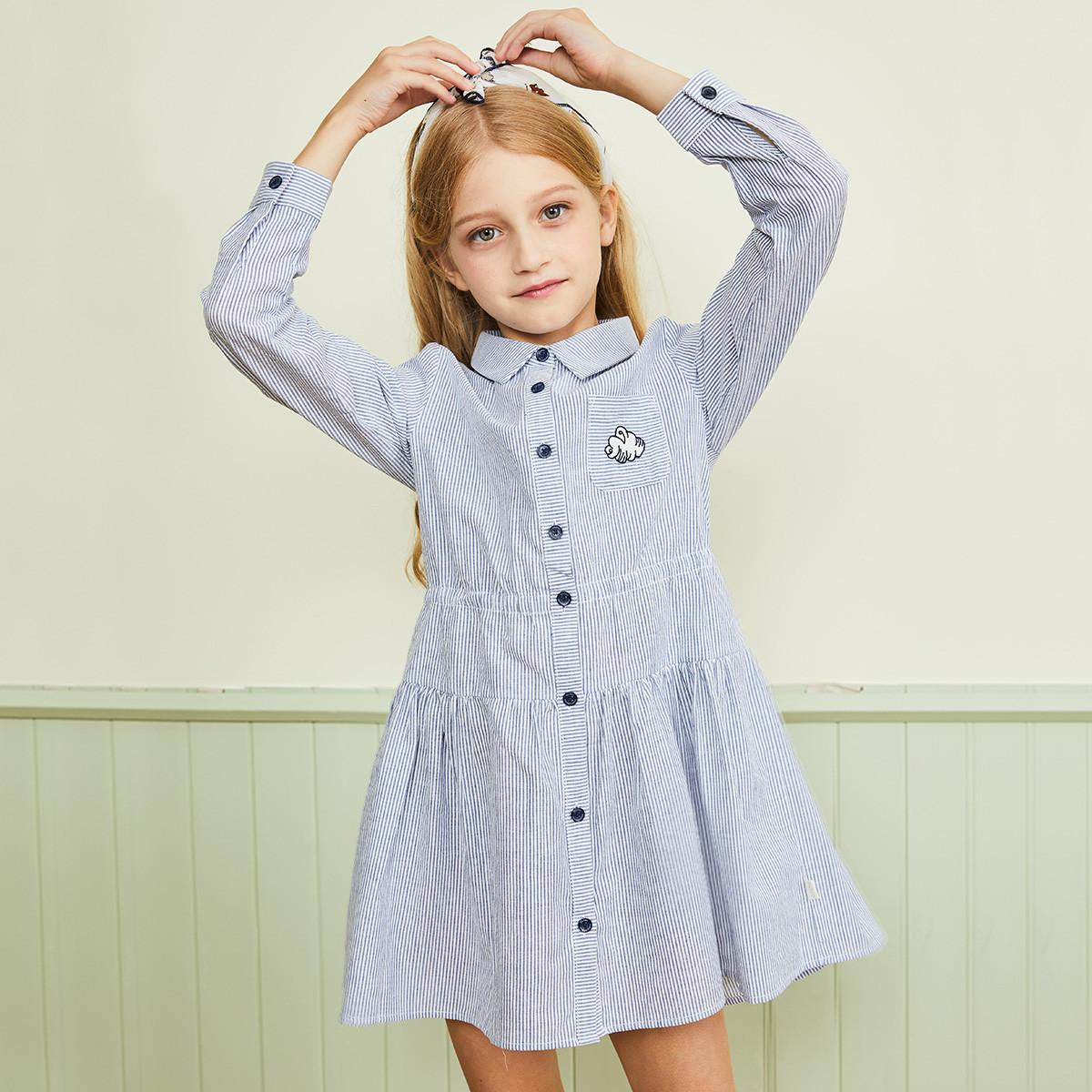 水孩儿水孩儿童装秋冬装新款女童条纹裙式衬衫ASFCM402B15