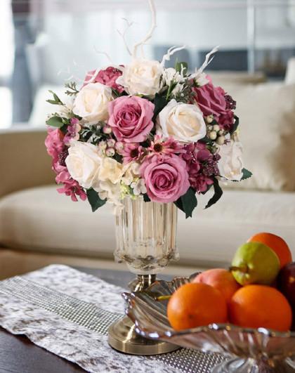 多款选-欧式客厅餐厅家居装饰摆件仿真花花艺玻璃花瓶套装
