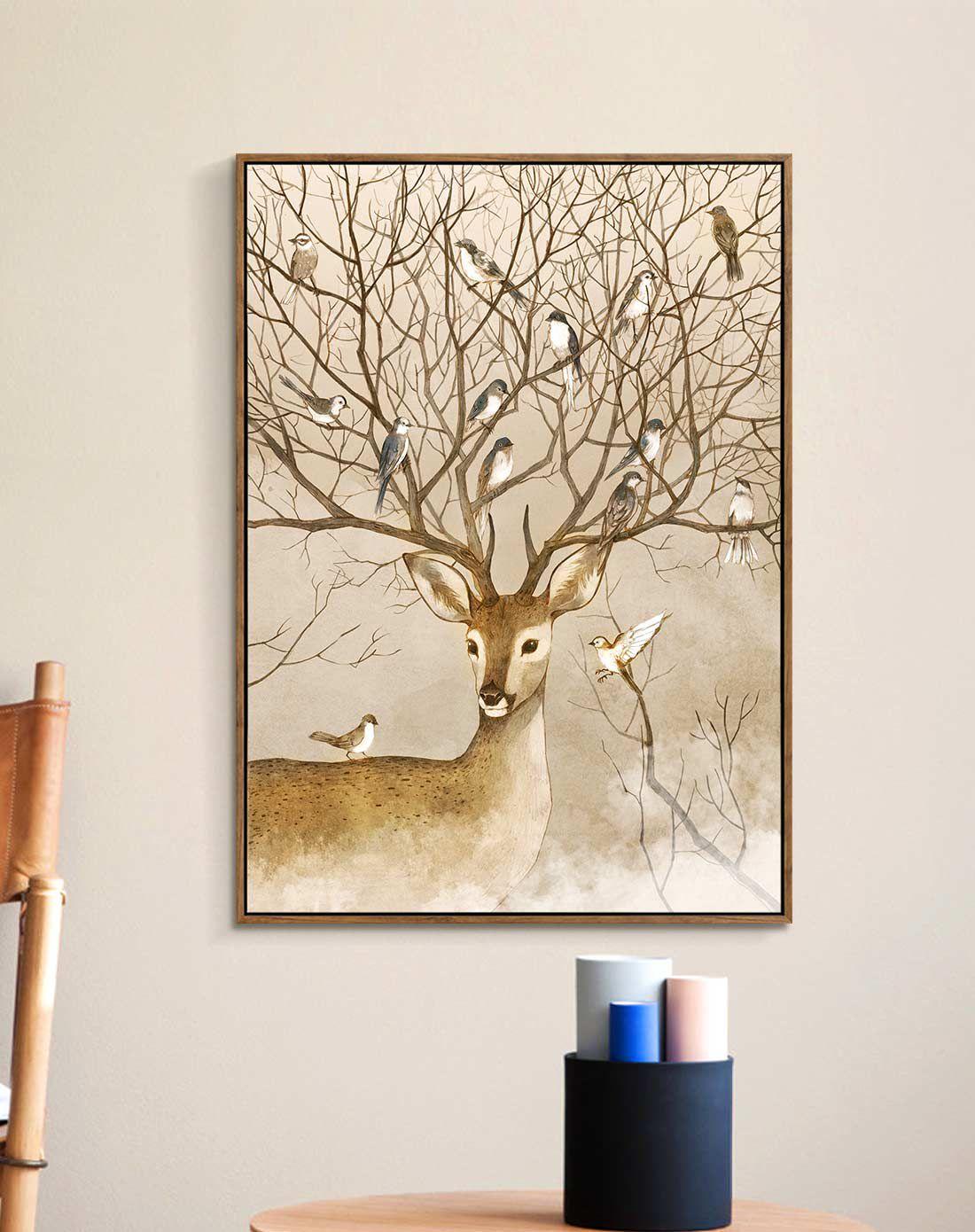 麋鹿森林 美式客厅装饰画