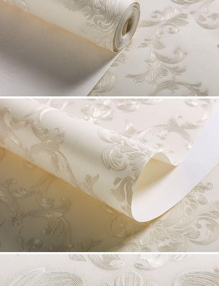 米黄色欧式奢华精致立体手工雕版墙纸