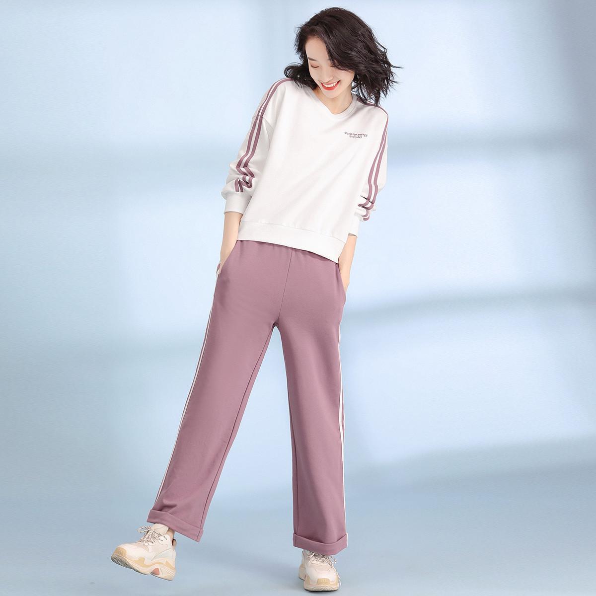 自由呼吸【2020春装新款】时尚运动风拼接条纹两件套显瘦阔腿裤套装女Z0C3014CK玫粉色