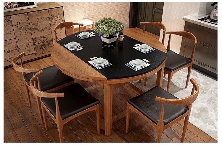 现代简约小户型火烧石餐桌椅组合 北欧式实木桌子圆形折叠餐桌 家用图片