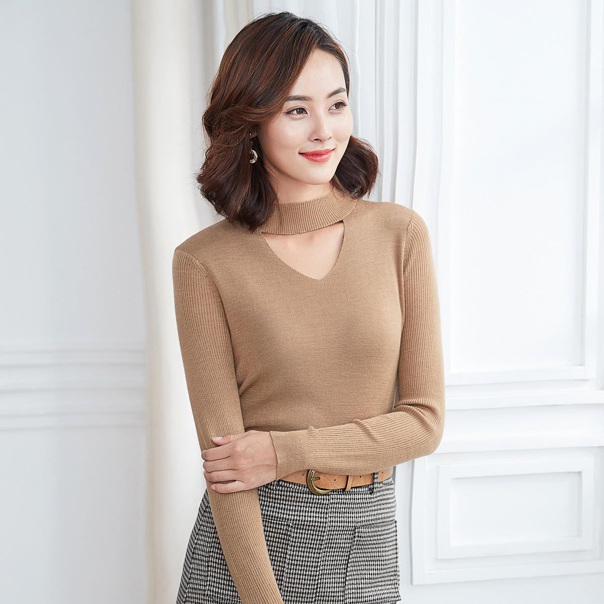 颜域颜域女款针织衫2019秋季新款设计感套头修身长袖针织上衣60A910377K1
