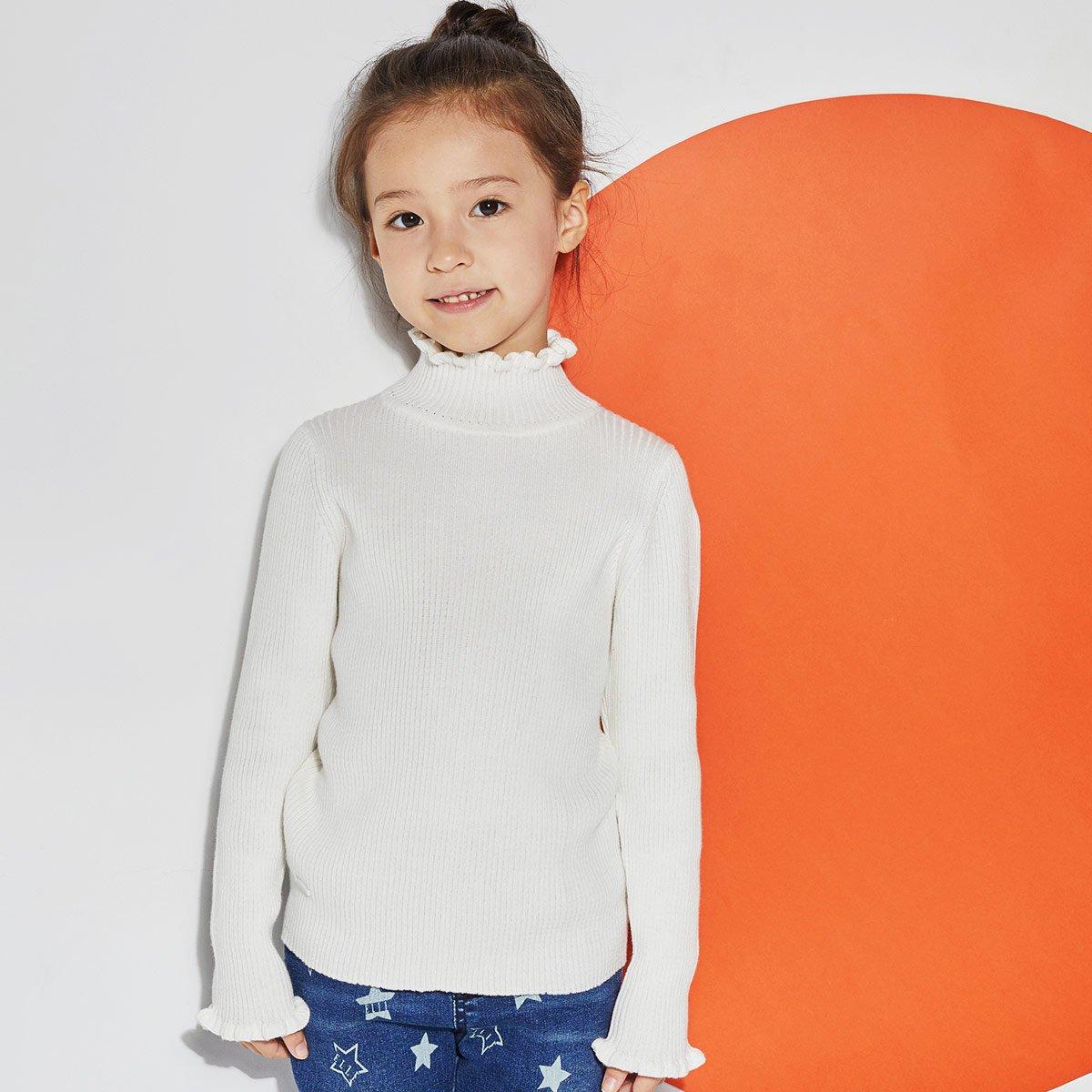 ELLE KIDSELLE KIDS女童纯色木耳边长袖半高领百搭毛衣打底衫ESA308123930