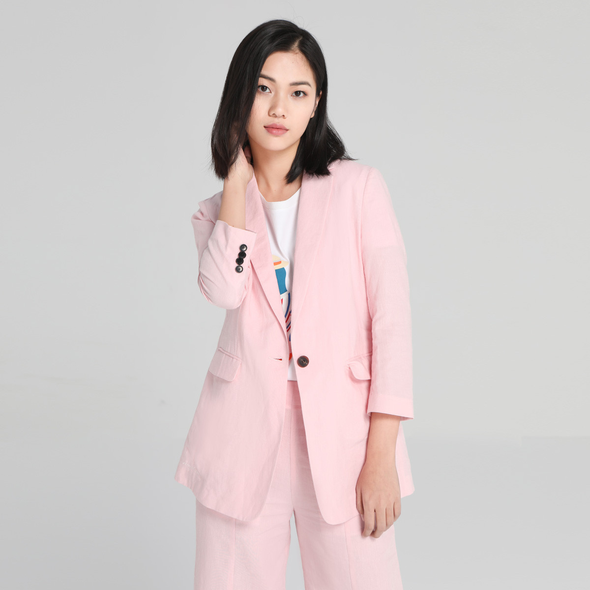 有兰URLAZH有兰2020春夏新款时尚粉色棉麻小西服修身西装气质外套上衣HI2JA073C