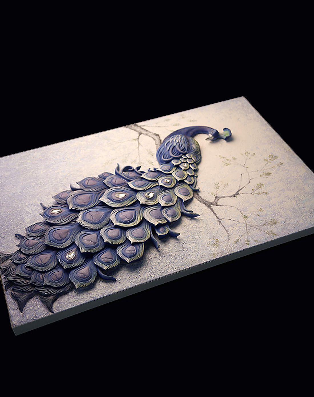 立体浮雕手绘油画孔雀挂画