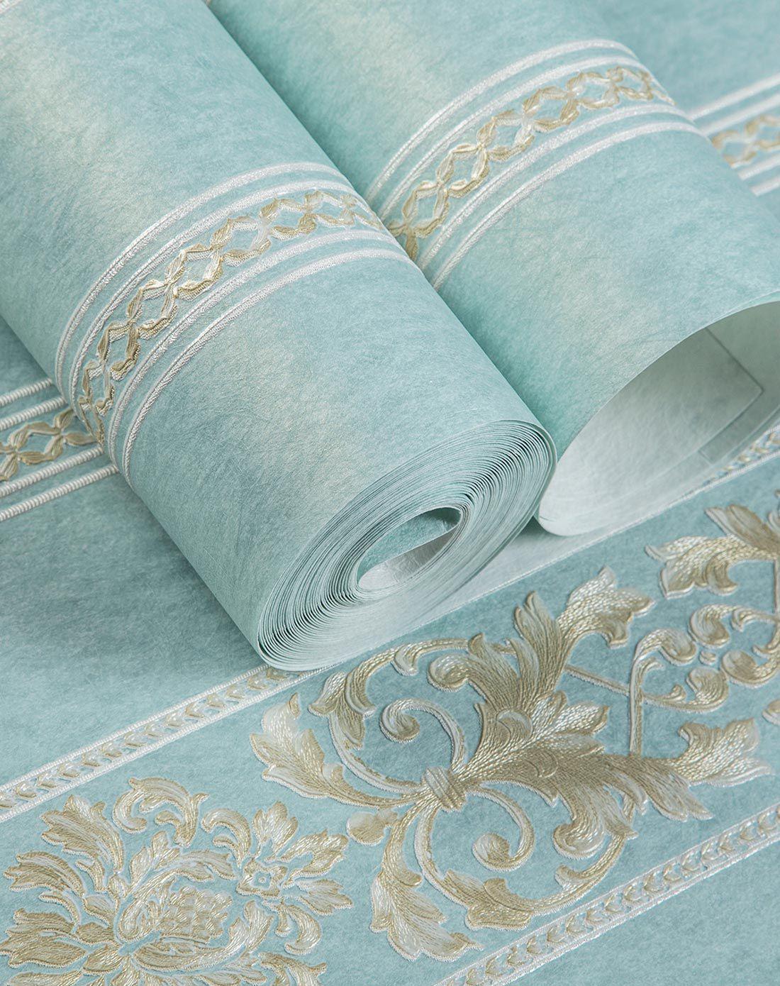 蓝色高端欧式圆网套压环保无纺墙纸