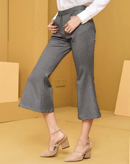 时尚条纹微喇裤
