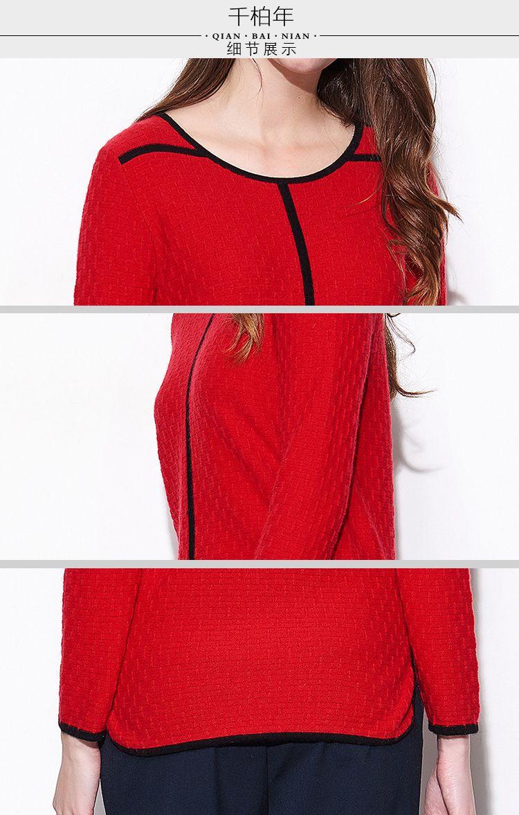 女款大红简约线条设计个性羊绒衫