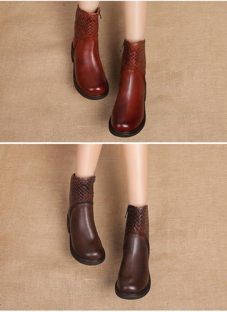 牛皮编织纹方跟休闲短靴