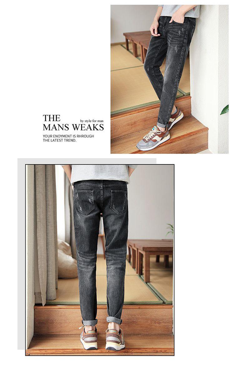 男款黑色牛仔裤
