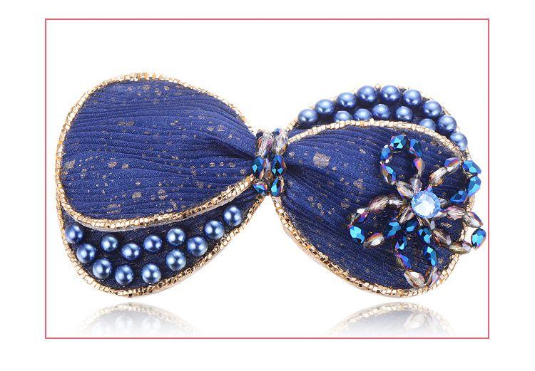 麦朵 蓝色珍珠串珠布艺蝴蝶结发夹