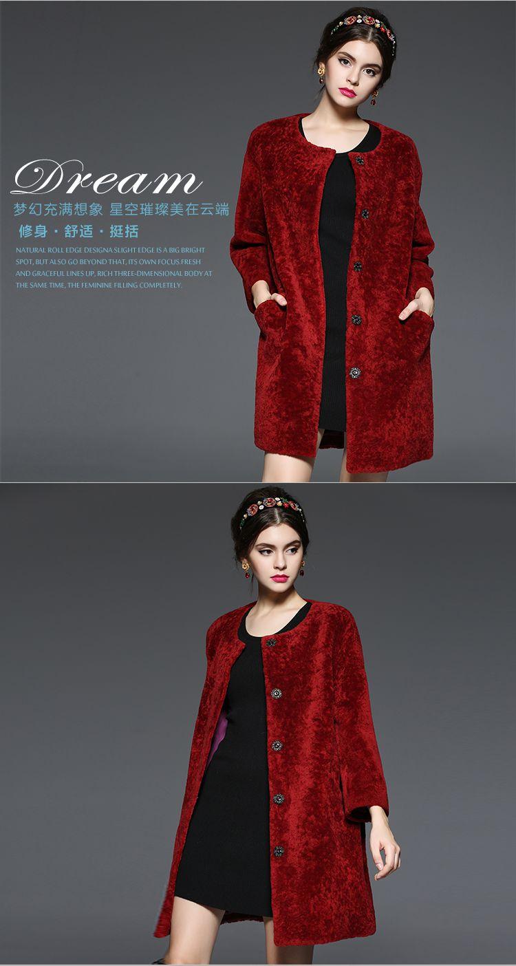 服装羊剪绒大衣-红色 韩国绒 服装