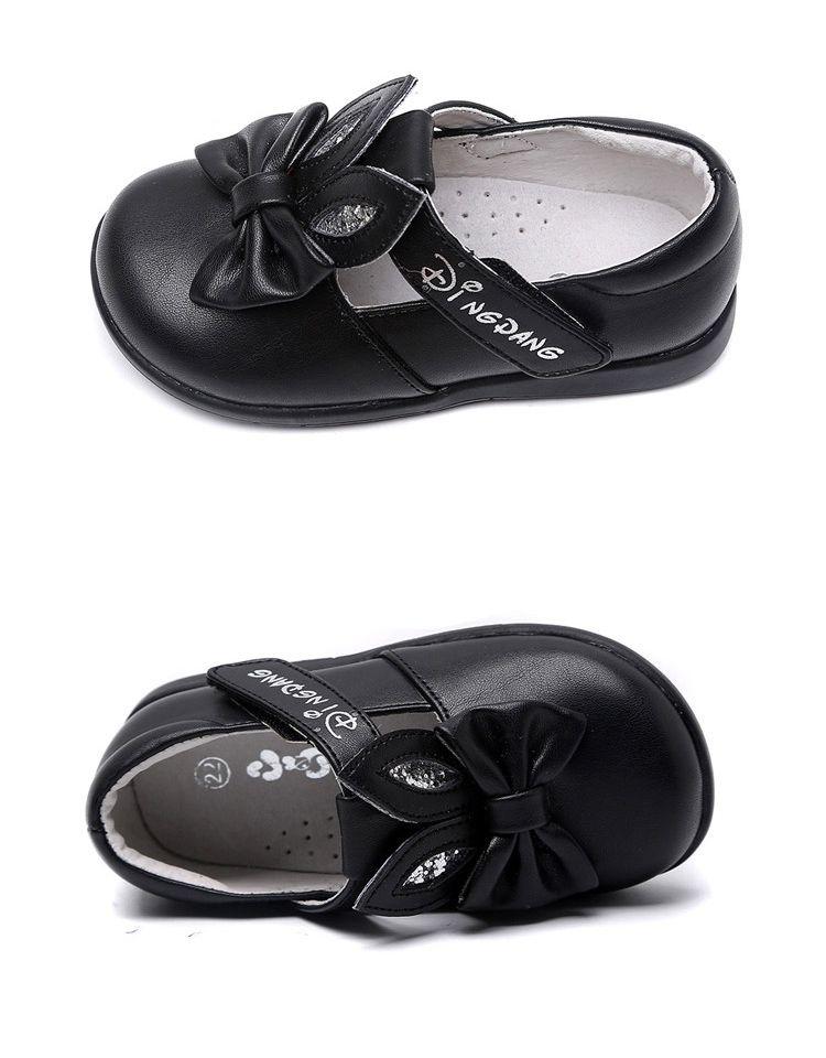 羊纹pu/tpr底可爱蝴蝶结皮鞋黑色