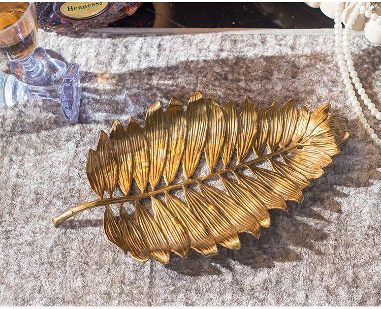 欧式客厅铜叶子雕刻果盘摆件
