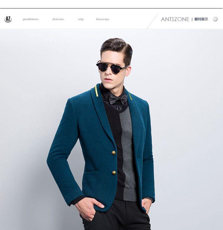 孔雀蓝两粒单排扣后中开叉西服