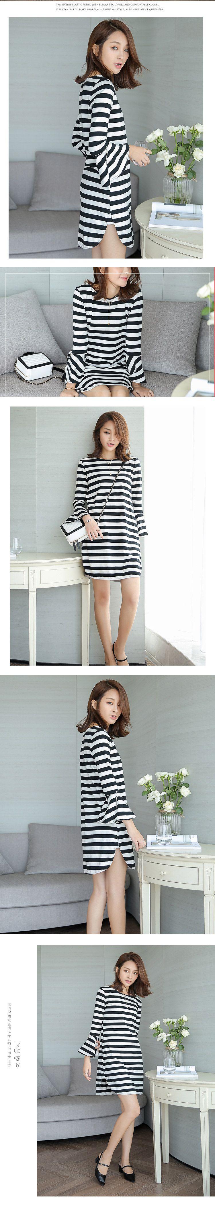 黑白条纹喇叭袖连衣裙