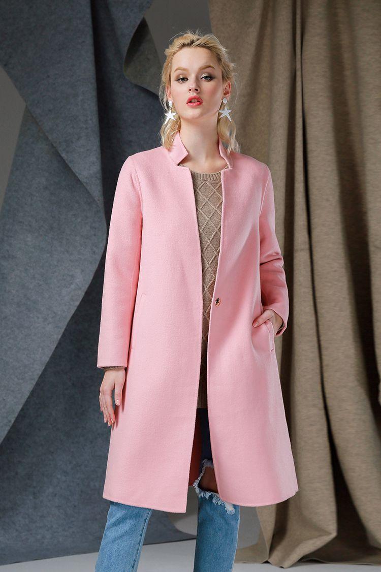粉色翻领双面呢大衣