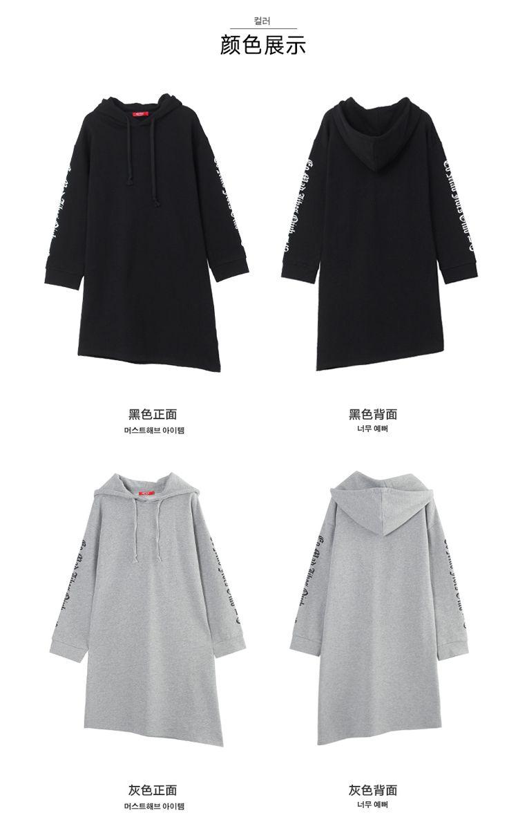 灰色长袖连衣裙图片