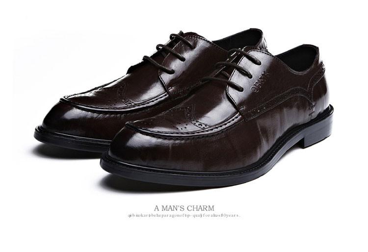 雕花真皮商务皮鞋棕色