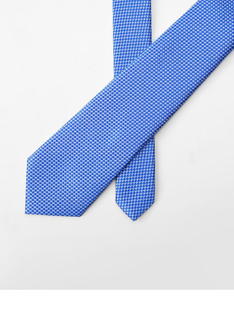 经典条纹时尚领带宝蓝花纹