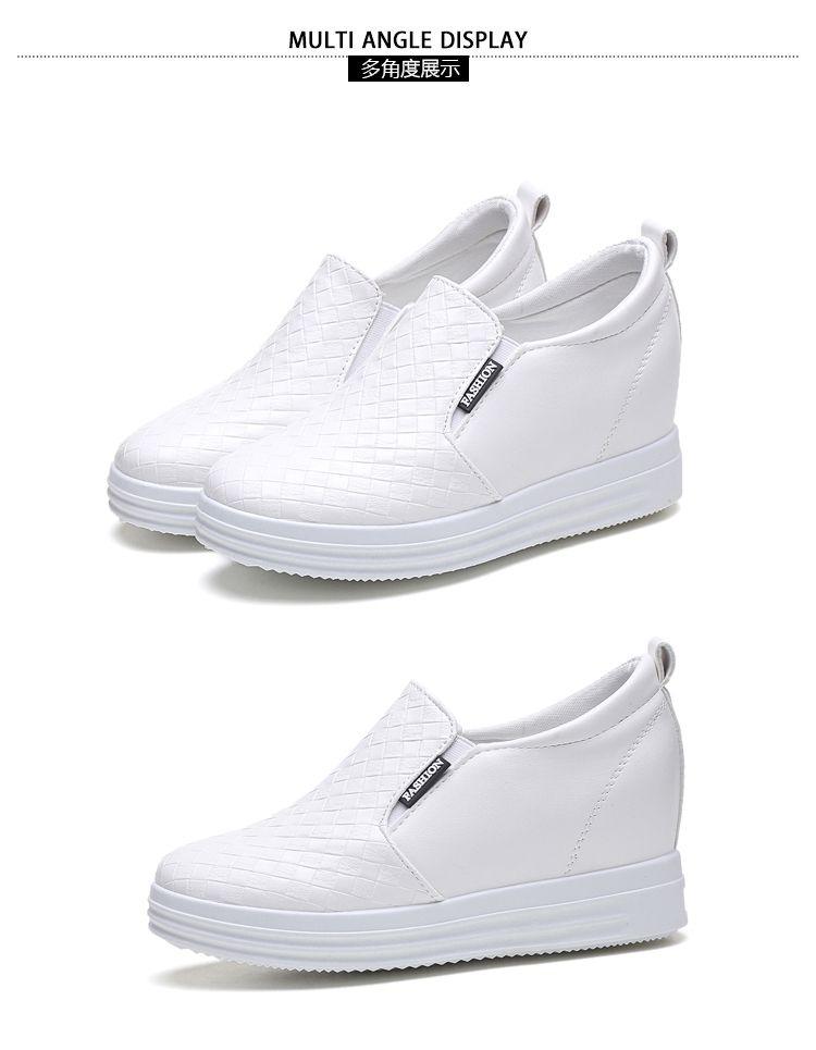 2017新品白色休闲内增高女鞋