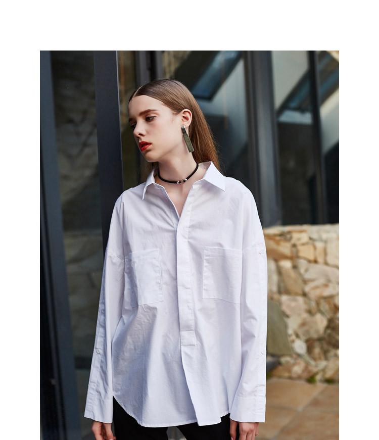 纽扣装饰简约款衬衣白
