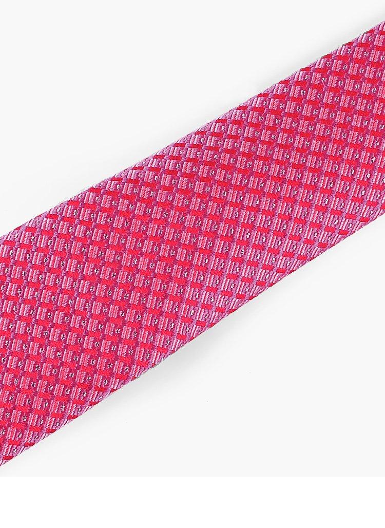 时尚蚕丝领带玫红花纹