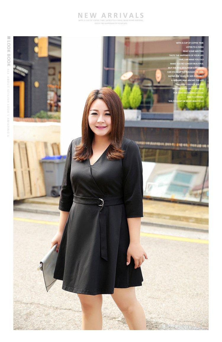 简约风金属圆环腰带连衣裙黑色