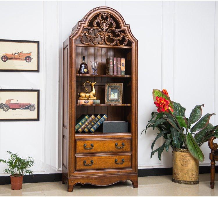 木质雕刻复古置物收纳柜子