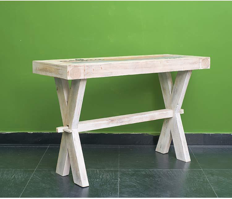 木质复古创意彩色咖啡长方桌子
