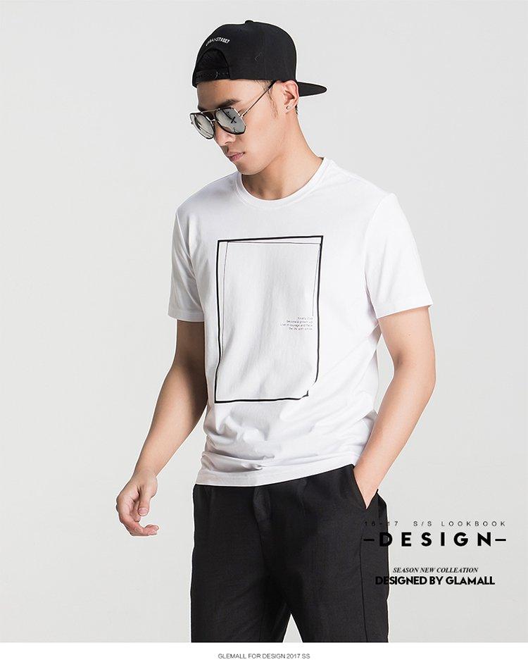 男士线框留白设计印花短袖t恤白色图片