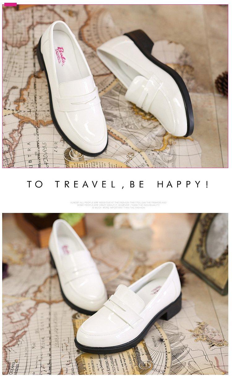 圆头镜面可爱系列乐福鞋小白鞋