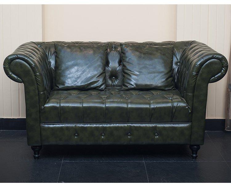 皮质复古墨绿气质双人沙发
