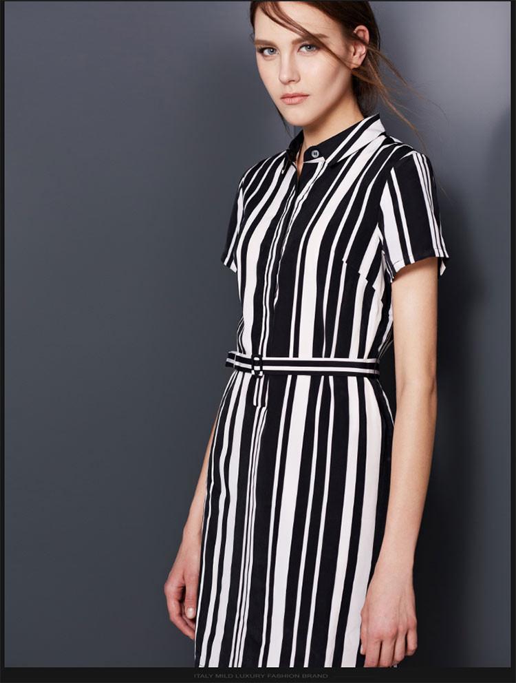 黑白条纹衬衫连衣裙黑白竖纹