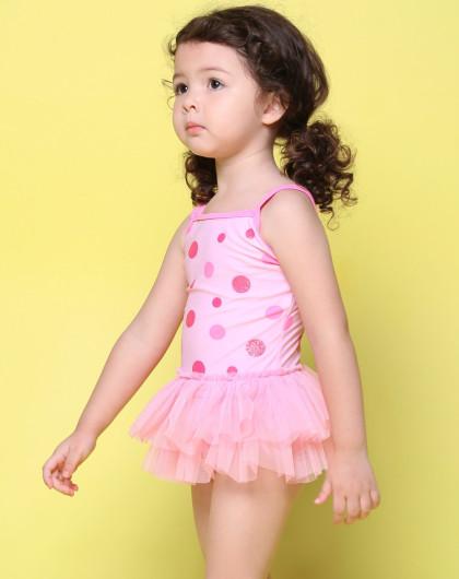 可爱小公主 女款时尚波点连体纱裙泳衣