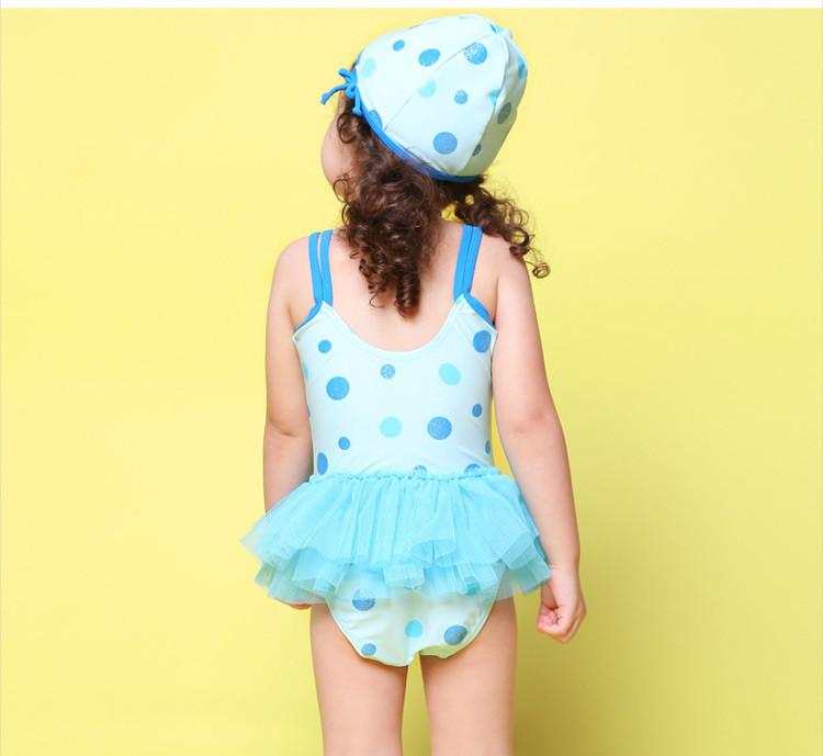 可爱小公主 女童时尚波点连体纱裙泳衣