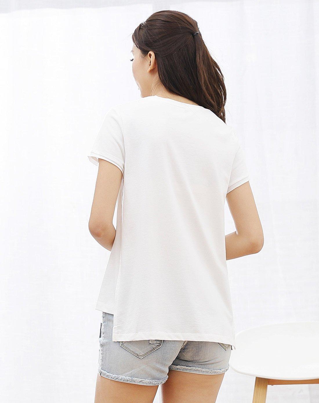 女款风景图案印花休闲短袖t恤