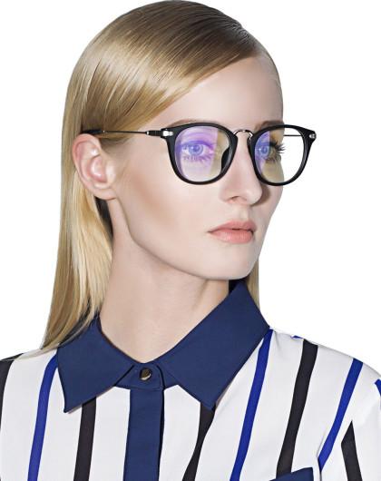 帕森 超轻tr90男女复古潮流眼镜架磨砂黑