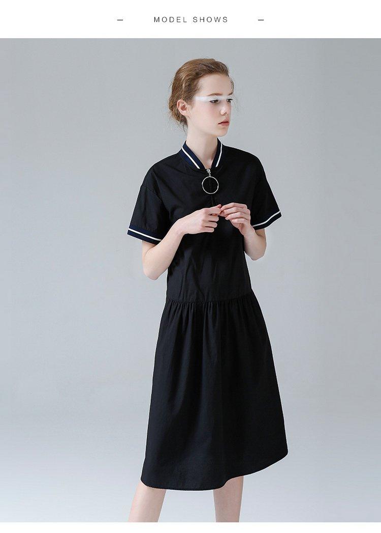 立领圆圈拉链低腰短袖连衣裙