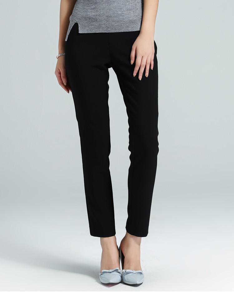女装梭织分割线休闲小脚裤黑色