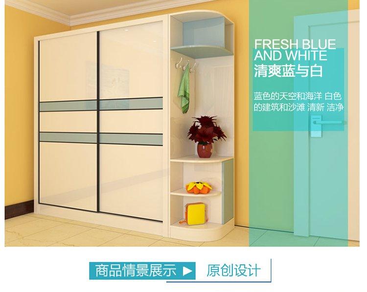 简约卧室 多颜色推拉门衣柜衣橱1.6米