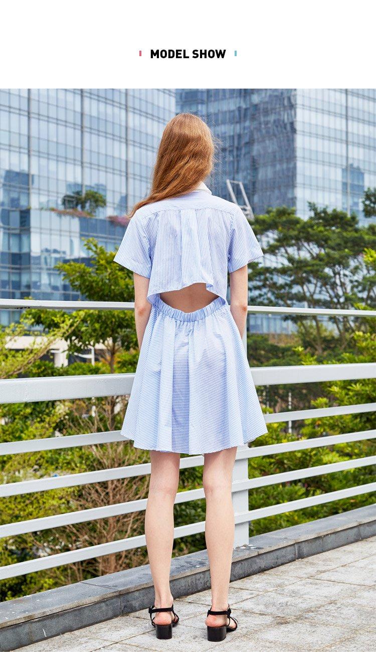拼接衬衫式连衣裙蓝
